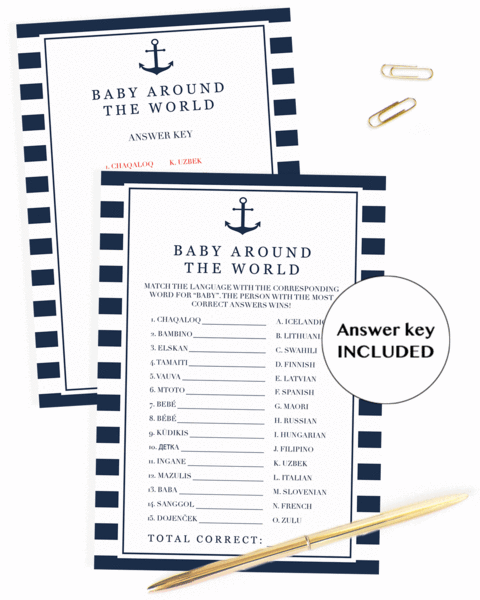 Around the world game for boy baby shower (Little Sizzle)