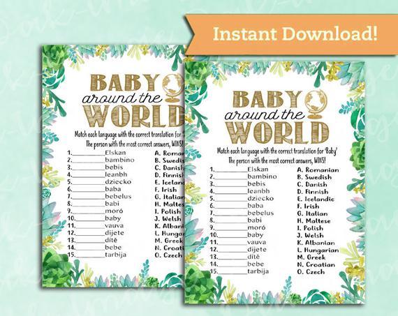 Baby Shower Game Around the world (etsy)