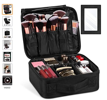 Travel Makeup Bag with Mirror, Portable Train Cosmetic Case Organizer with Adjustable (Amazon.com)