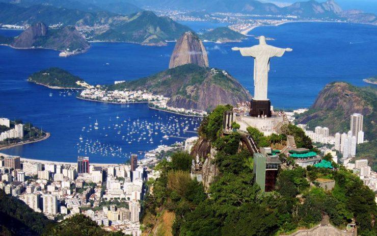 Enormous Christ the Redeemer Statue in Rio de Janeiro Brazil