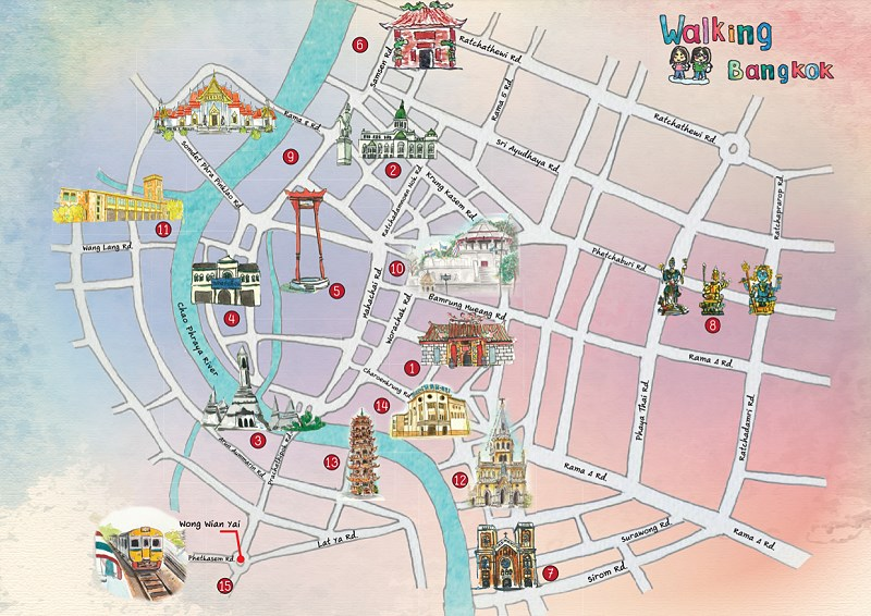 Bangkok Thailand tourist maps