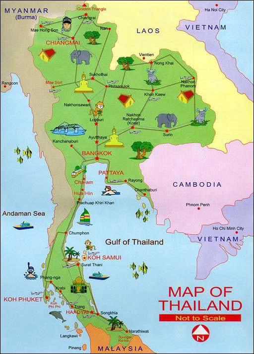 Thailand tourist atraction maps