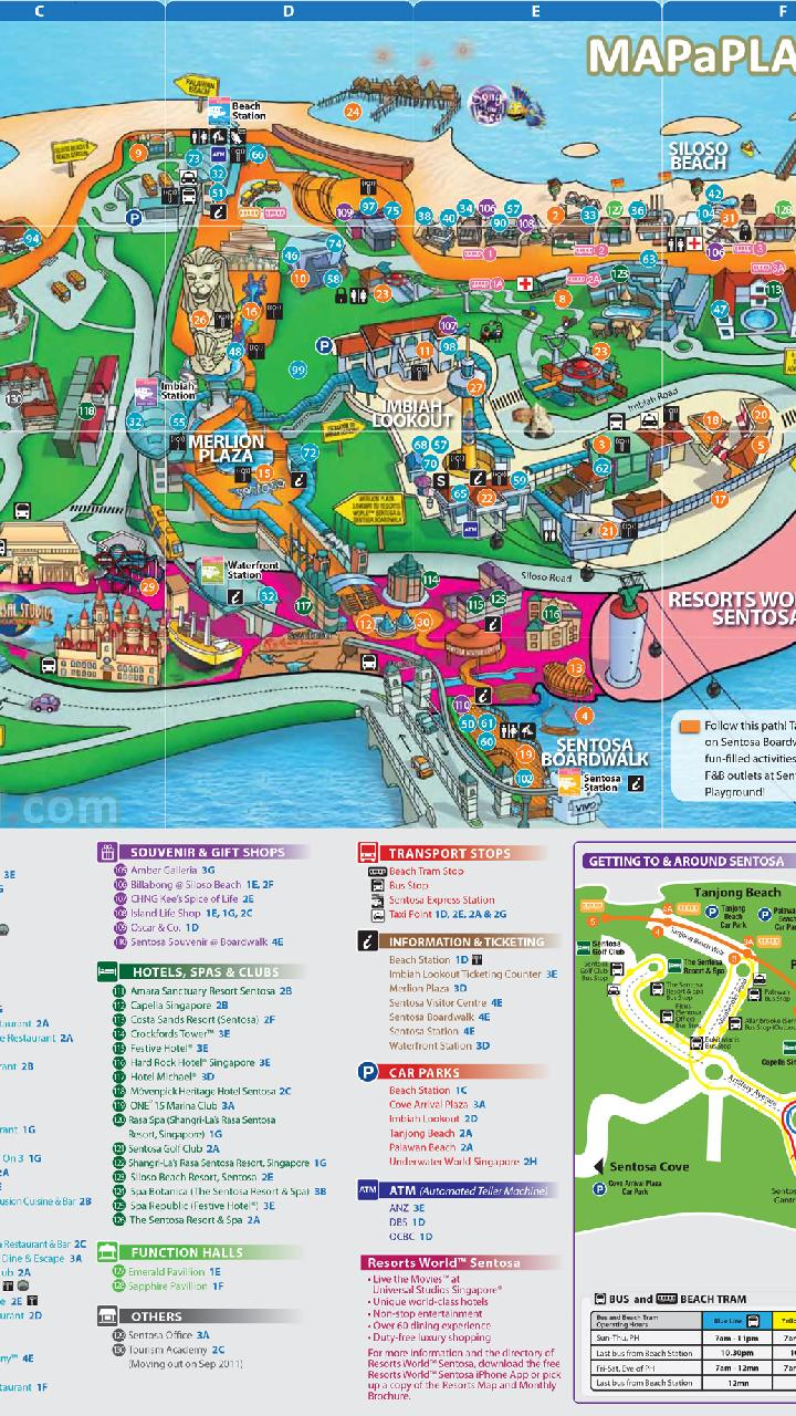 Singapore Map With Tourist Attractions