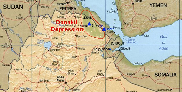 Maps of The Hell Hole Depression Danakil Etiophia