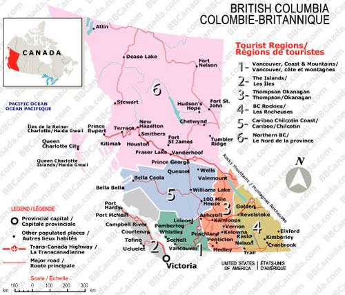 British Columbia Tourism Map (BBCanada.com)