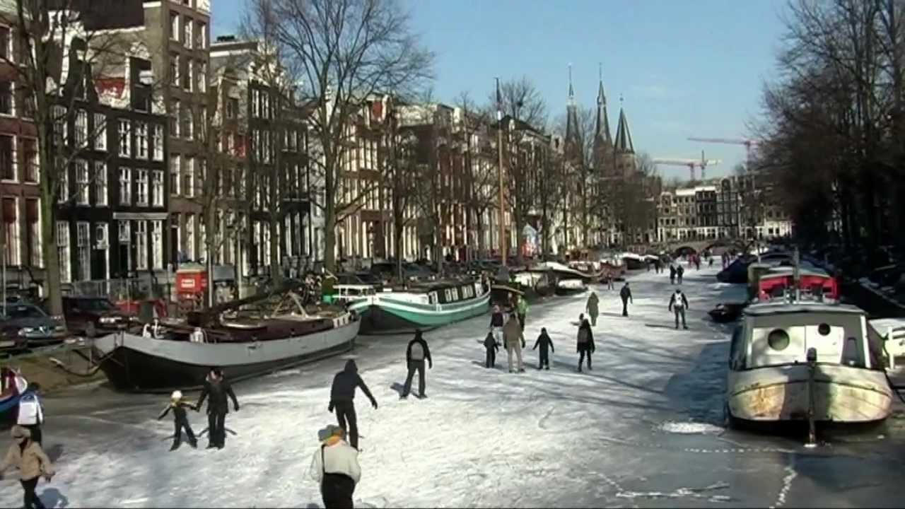 Ice Skating Amsterdam Canal Netherlands