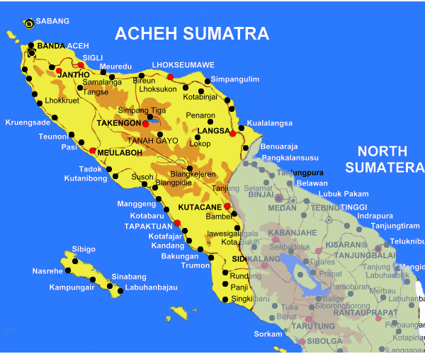 The enchantment of Aceh tourism map of Nanggro Aceh Darrusalam