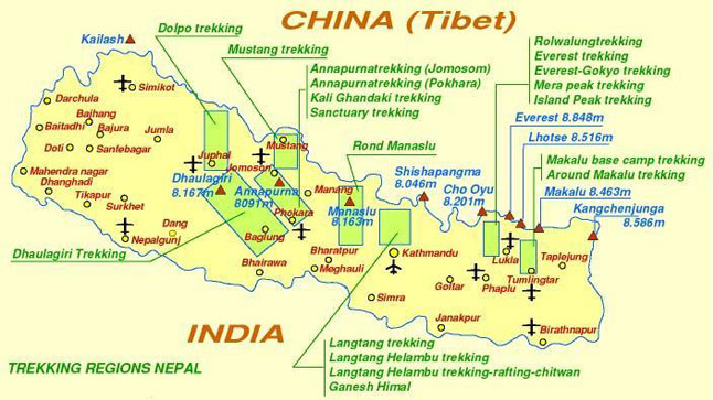 Nepal trekking map and travel information (non-art.info)