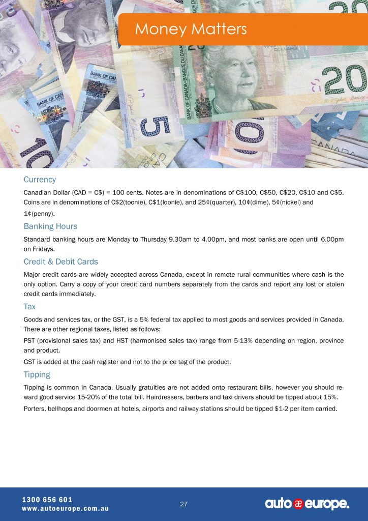 Money Matters  Canada Driving Guide