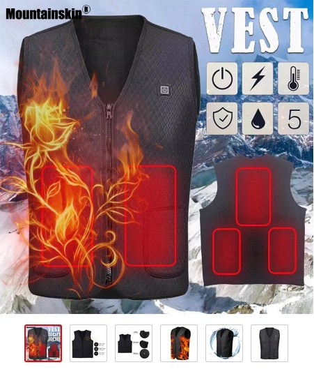 Mountainskin Men's Winter USB Heating Vest Smart Flexible Infrared Warm Casual Vest Male Winter Electric Thermal Clothing MT124 - READ MORE