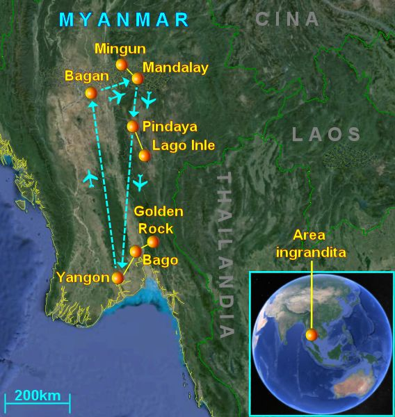 The usual route across Myanmar (Travel Tour Guide)