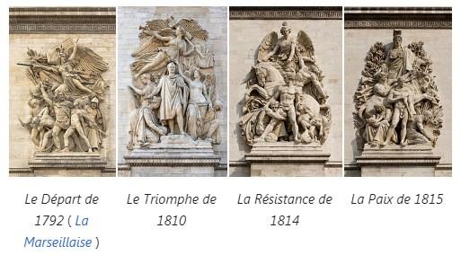 4 main statues in Paris ' Arc de Triomphe