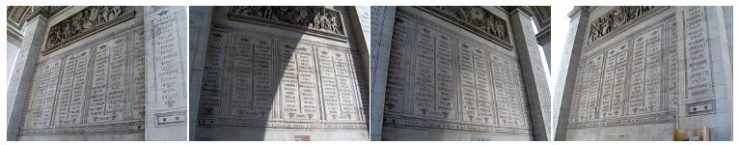 Names of the rulers of the Revolution and the French Empire engraved on each side of the pillar of the Arc de Triomphe Paris