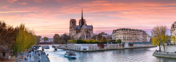Panoramic of Notre Dame at sunset, Paris inside