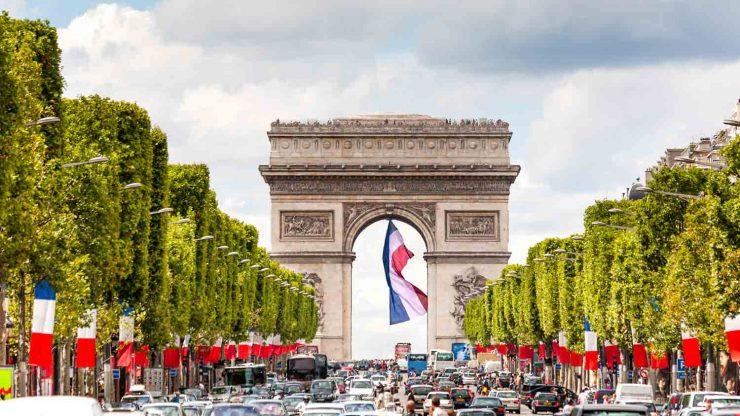 The festive atmosphere at the Arc de Triomphe Paris