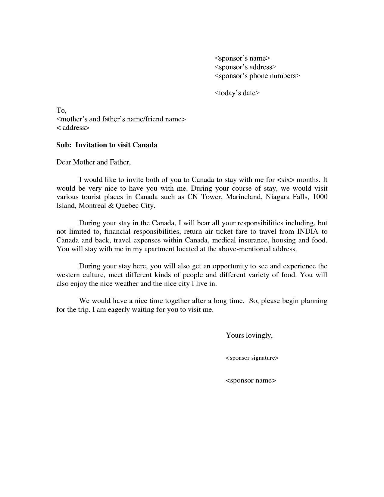 Invitation Letter For Tourist Visa Usa